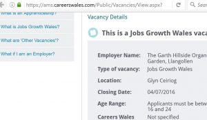 Job opportunity Gly Ceiriog at Garth Organic Garden